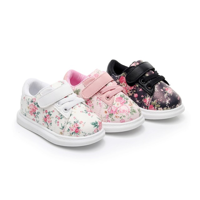 bc2de145e 2018 Autumn Cute Baby girls Shoes Soft Black Flower Baby boys Sneakers  Toddler kids sport shoes hot sell