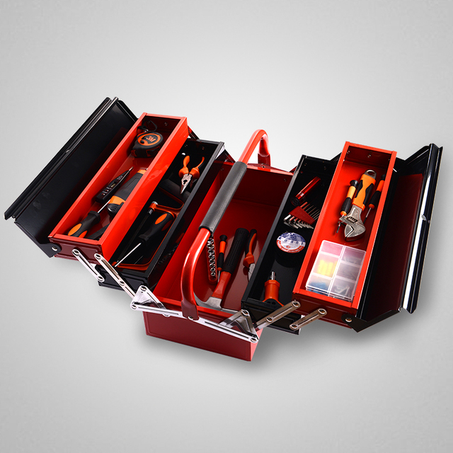 Organizador Portable Tool Box Iron Multi Function Household Multilayer  Folding Large Metal Lacquer Box Rectangle