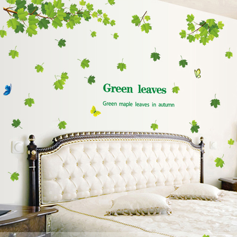 Removable diy green leaves maple tree wall stickers art for Diy tree wall mural