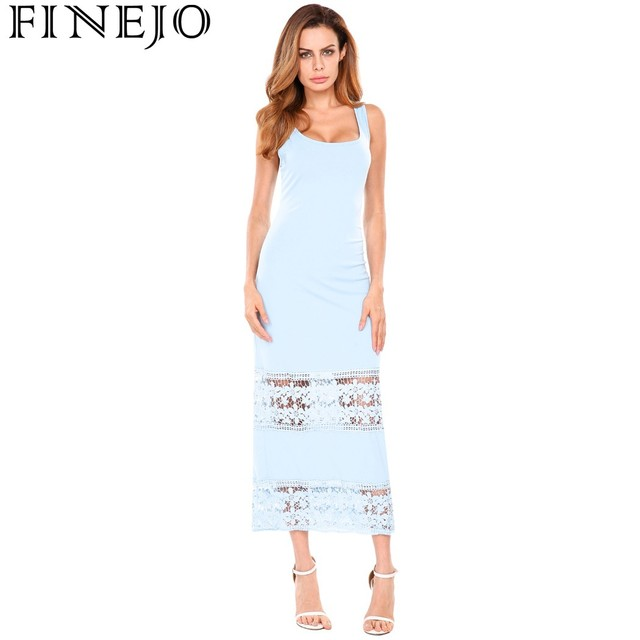 c2073d0afd FINEJO Hollow Out White Lace Dress Women Casual Long Dress U-Neck Tank  Sleeveless Evening Party Maxi Dresses Vestidos Plus Size