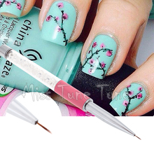 1PCS Pink Nail Art Lining Drawing Brush Pen Rhinestone Diamond Acrylic Handle Carving Powder Gel Liquid Paiting Liner with Cap