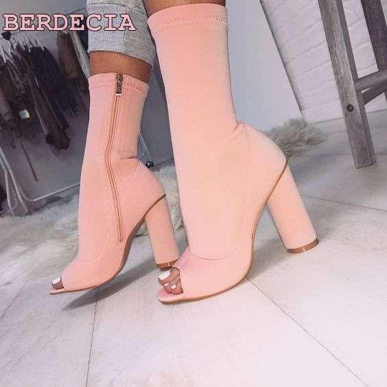 peep toe mid calf short boots pink suede thick heel woman boots hot selling shoes free shipping woman riding boots high quality hot selling chic stylish black grey suede leather patchwork boots mid calf spike heels middle fringe boots side tassel boots