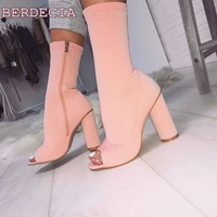 peep toe mid calf short boots pink suede thick heel woman boots hot selling shoes free shipping woman riding boots high quality