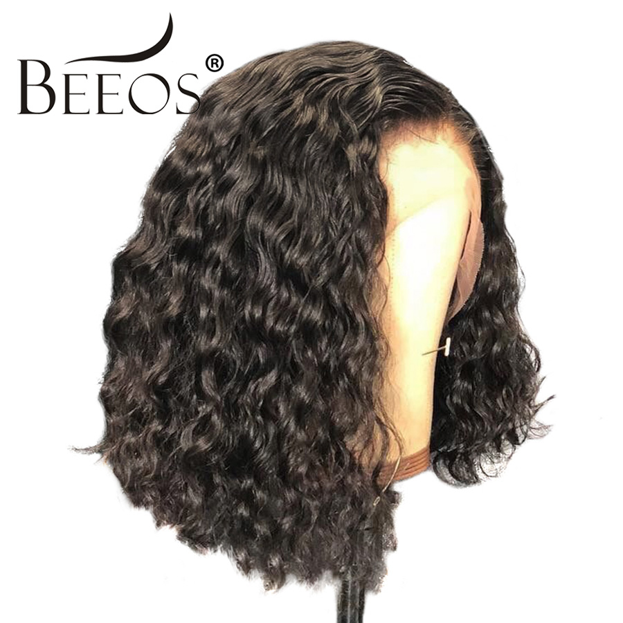 Lace Front Human Hair Wigs For Women Remy Peruvian Short Bob Deep Curly 13*4 Lace Wigs With Baby Hair Bleached Knots Pre Plucked