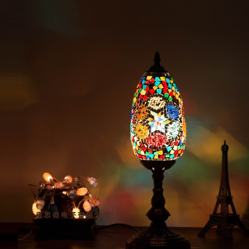 Turkish mosaic lamps vintage art Deco Handcrafted Glass romantic bed light lampada da tavolo stile mediterraneo turco