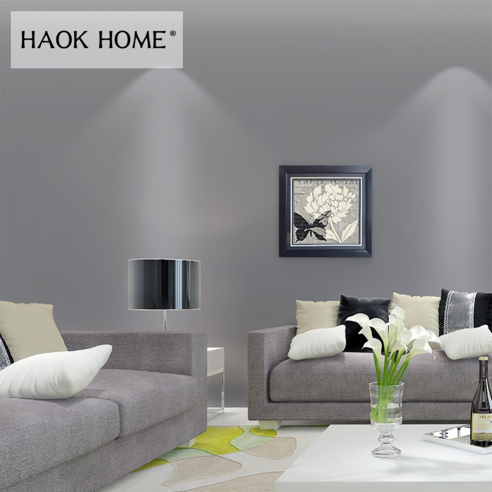 HaokHome Classic Solid Color Grey Peel and Stick Wallpaper Self-Adhesive Sticker Contact Paper Living Room Bedroom Home Decor