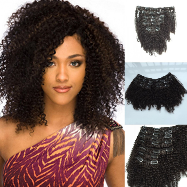African American Clip In Black Afro Kinky Curly Clip In Brazilian