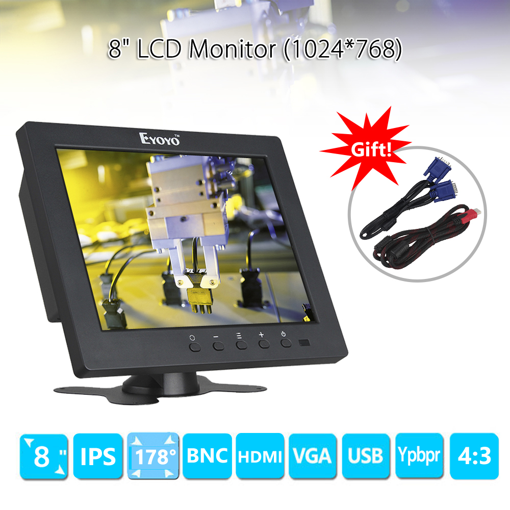 Eyoyo S801C 8 inch LCD HD Screen Security CCTV Monitor 1024x768 with VGA BNC AV HDMI Ypbpr Input Display for VCD DVD PC 17 inch tft cctv lcd 4 3 lcd color monitor screen display bnc vga av hdmi input with stand for hdmi microscope camera pc