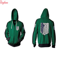 Attack on titan adul cosplay costume Anime Attack Titan Cosplay Costume Hoodie Green Scouting Corps Hooded Jacket women Men 2018
