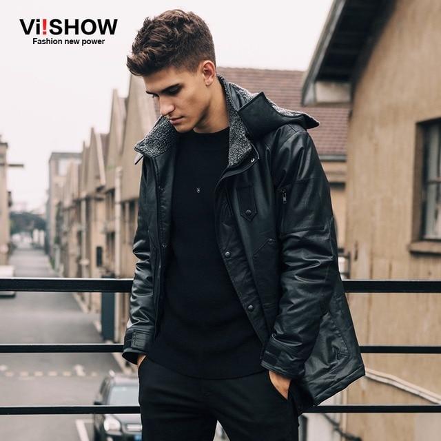 8d1f5b89d Viishow Winter Black Jacket Men Hooded Warm Casual Parka Coat Hooded Design  Men Leather Jacket Men Wear Clothing M155854-in Down Jackets from Men's ...