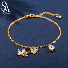 SA SILVERAGE 925 Sterling Silver Bracelets Bangles for Women Yellow Gold Color Maple Leaf Jewelry 2019