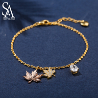 SA SILVERAGE 925 Sterling Silver Bracelets Bangles for Women Yellow Gold Color Maple Leaf Silver 925 Jewelry Gold Bracelets 2019