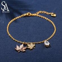 Женский браслет с кленовым листом sa silverage браслеты из стерлингового