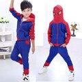 Meninos conjunto de roupas de natal roupa homem aranha dos desenhos animados da criança roupas meninos terno para a altura 110-150 cm menino roupas