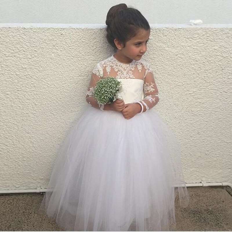 Adorable Long Sleeve Flower Girl Dress For Wedding With Puffy Ball ...