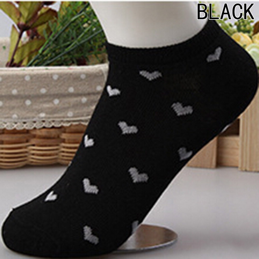 Fashion Candy Color Women Socks Classic Spring Summer Autumn Multi Colors Love Heart Pattern Comfortable Boat Sock
