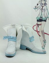 Custom Made Japanese Anime White Vocaloid China Project Yan He Cosplay Boots Shoes For Christmas Halloween(China)