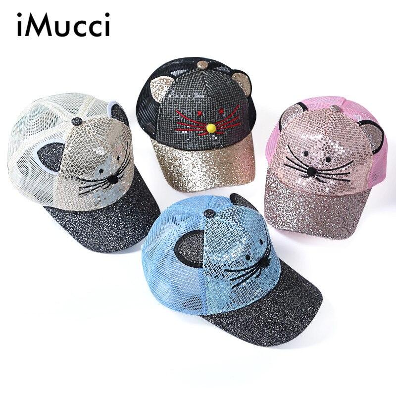 iMucci Summer Chilldren Hat Women Cute Cat Style Baseball Caps Embroidery Hip hop Cat Ear Gorras Swag Casquette Hat Boys girl