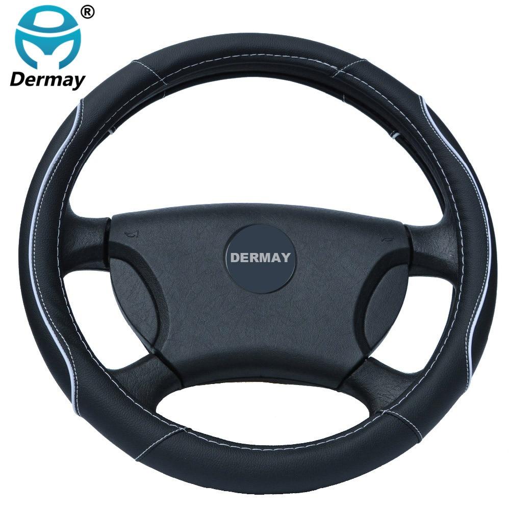 DERMAY Car Leather ղեկանիվ ծածկված ծածկոցները տեղավորվում են 95% Car Styling համար kia / vw / ford / nissan և այլն, չափը 38 սմ էժան և բարձրորակ