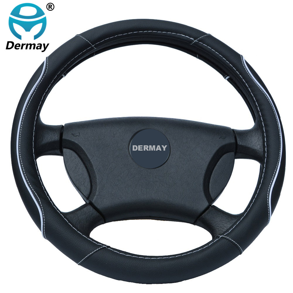 DERMAY Car Leather Steering Wheel Covers Fit 95% Car Styling for kia/vw/ford/nissan etc.,size 38cm Cheap&High Quality