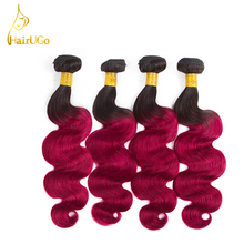 HairUGo Hair Pre-colored Body Wave  Malaysia Human Hair Bundles 1b#Bug Color Hair Extension Non Remy Hair 4 Bundles
