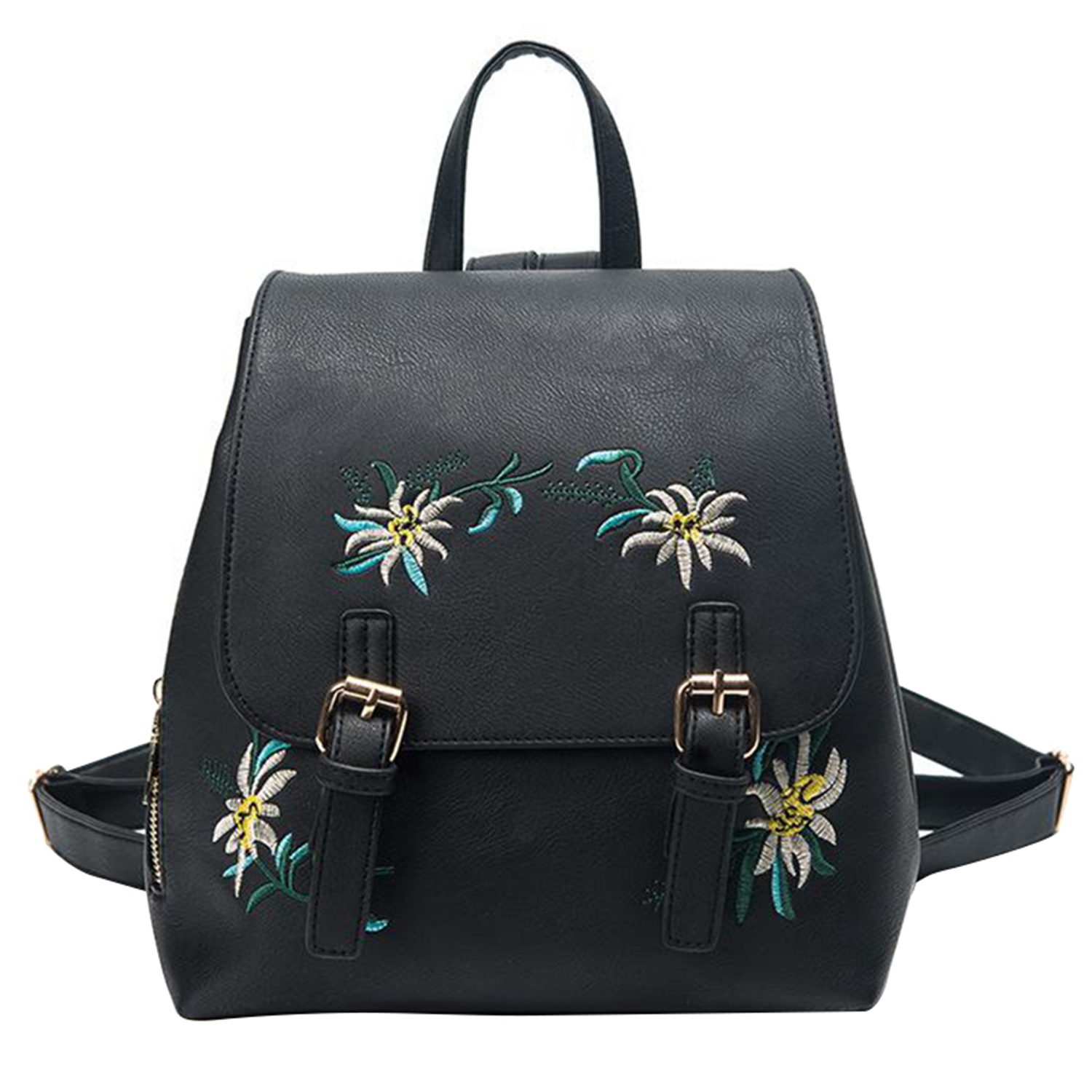 FGGS-Embroidered Lady Backpack Fashion Casual Pu Leather Ladies Young Girl Schoolbag