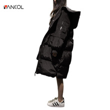 Vancol Parka Women 2016 Korea Fashion High Quality Hooded Big Pocket Loose Thicken Long Down Feather Black Plus Size Winter Coat