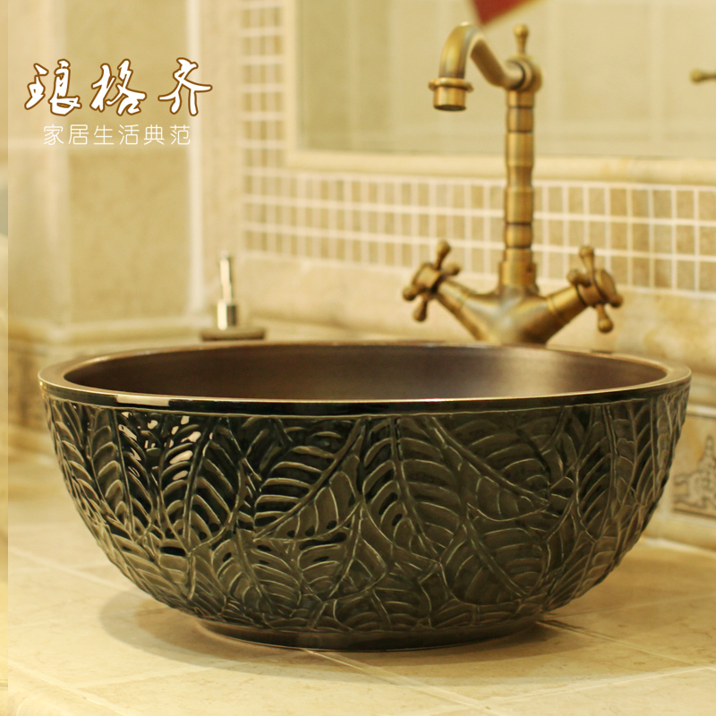 все цены на LOTS OF COLOURS Jingdezhen HAND CARVED leaf ceramic wash basin for bathroom