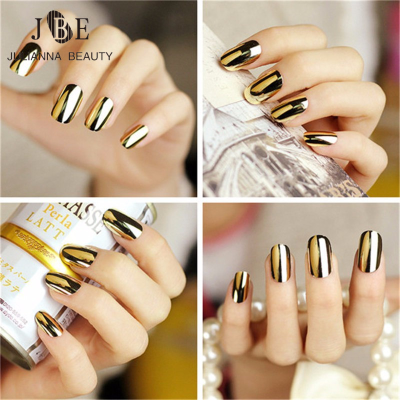 6 X New Mirror Fashion Nail Art Stickers 3D Beauty Gold Silver ...