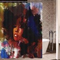Art Design Graffiti Art Hip Hop African Girl with Black Hair Big Earring Shower Curtain and Mat Set Bathroom Tub Curtain