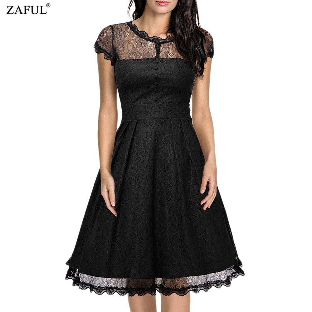 zaful new black women retro dress audery vintage elegant