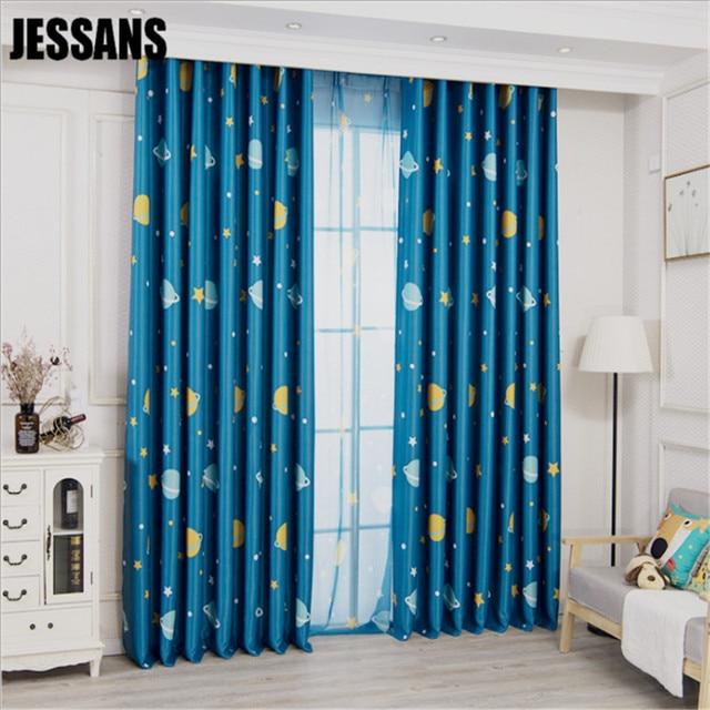 Vorhang Tuch Blau Kinder Vorhänge Für Schlafzimmer Planet Schwarz Seide  Schattierung Tuch Junge Vorhänge Für Wohnzimmer