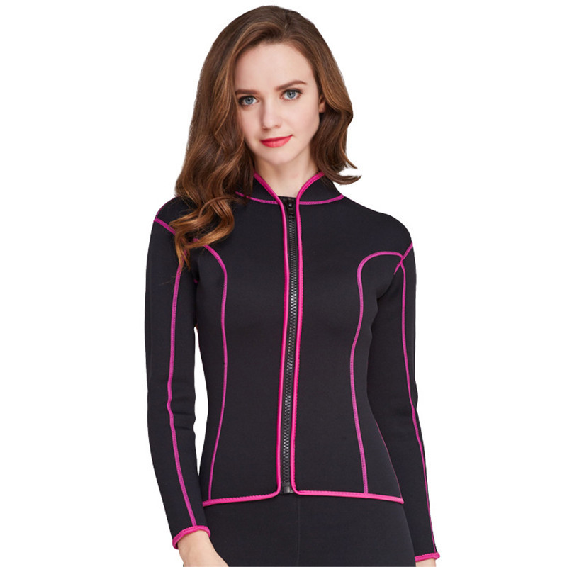 LAFICIRO 2mm Women Long Sleeve Neoprene Wetsuits Tops Women Scuba Diving Jacket Suits Long Sleeve Surfing
