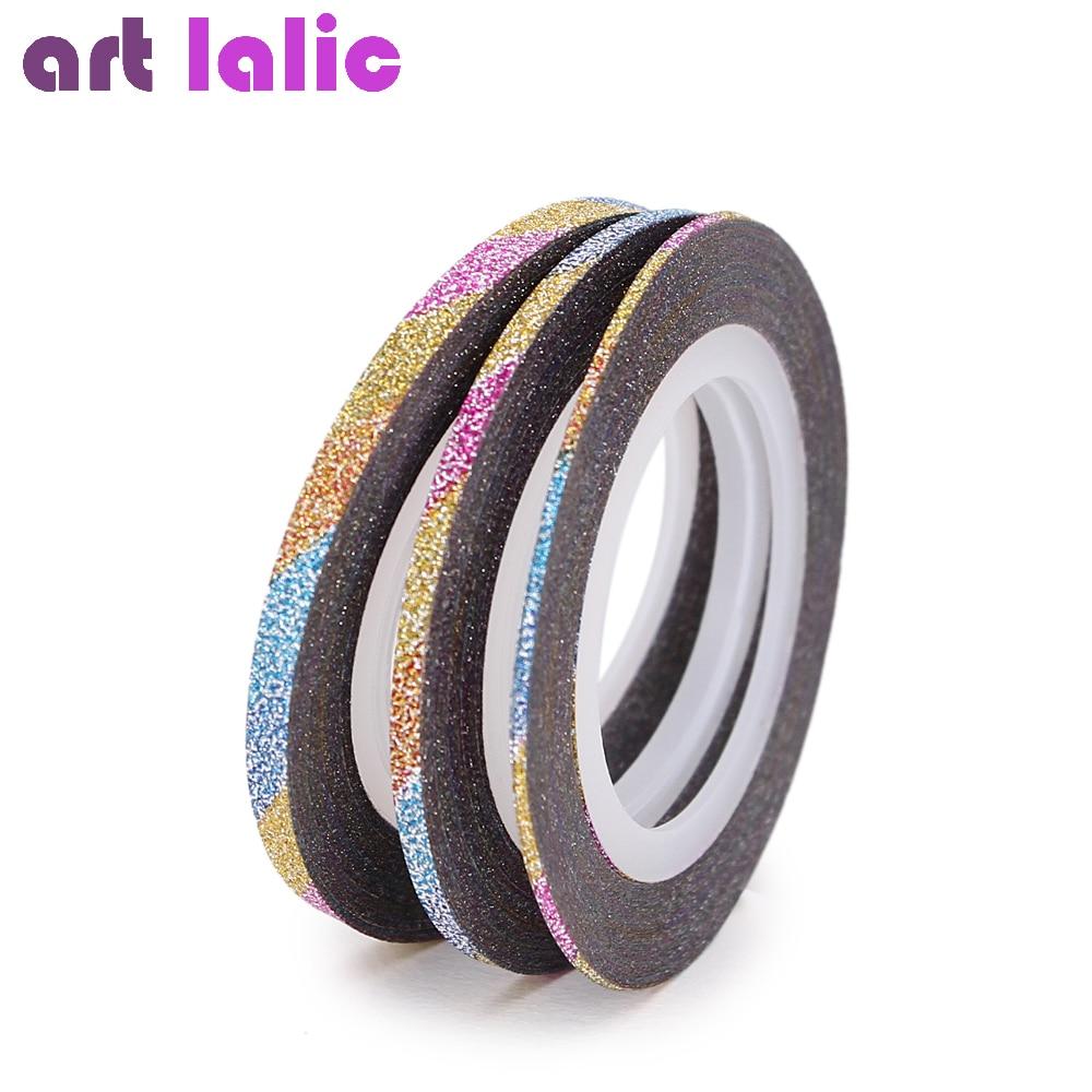 Nail Art Tape Strips: Aliexpress.com : Buy Artlalic 3pcs/Set 1mm/2mm/3mm Glitter