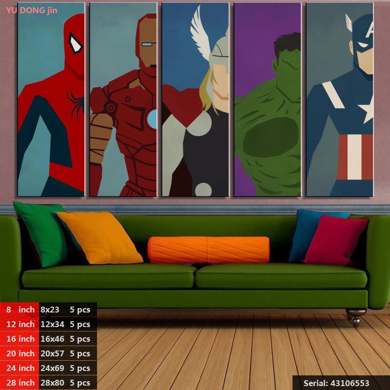 Olejomalba plátno Hero Cartoon Modulární domácí dekor Moderní nástěnné obrázky pro dekorace do obývacího pokoje Superman Super43106553