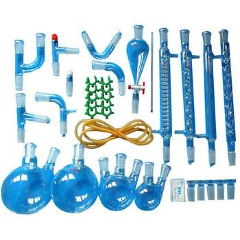 New 35 Pcs Lab Essential Oil Steam Distillation Organic Chemistry Apparatus Glassware Kit w/24/40 Joint Separatory Funnel
