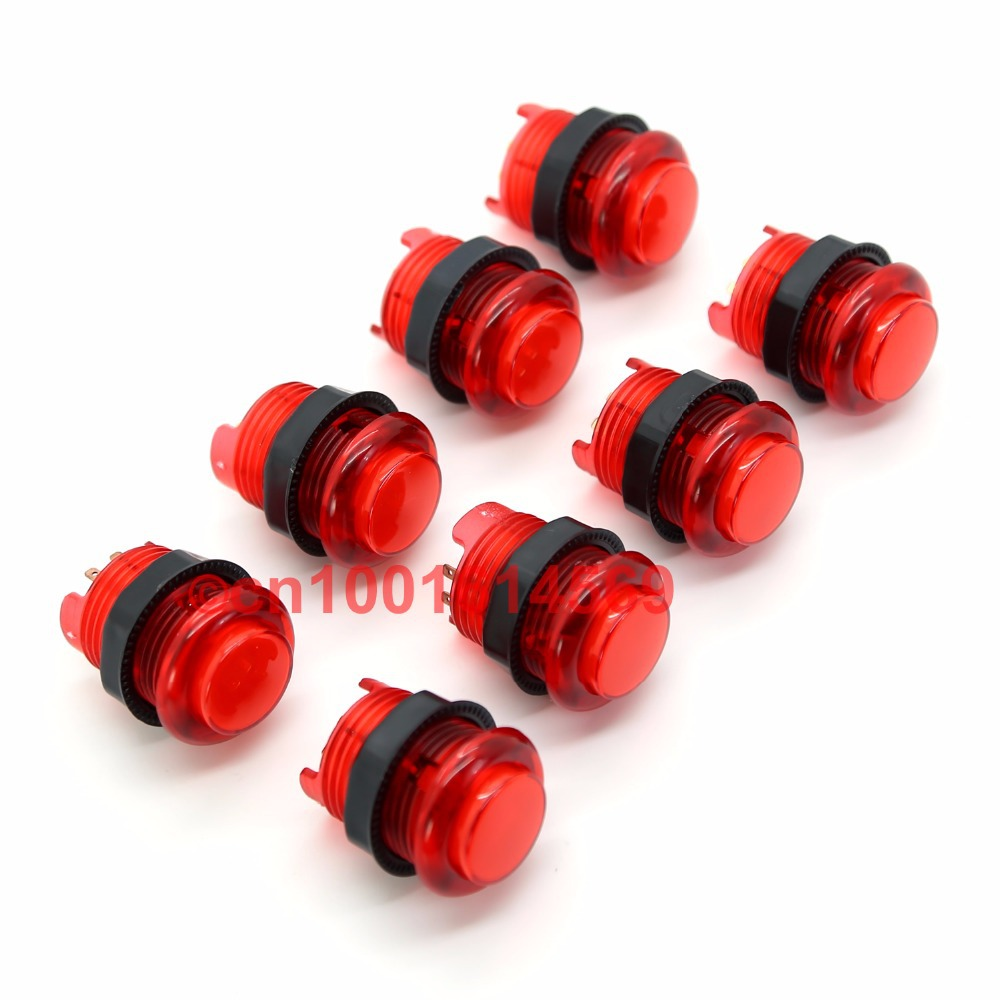 New Reyann 30mm 8pcs/lot 5V LED Illuminated Arcade LED Push Button with Build-in Microswitch Five Color To Retropie 3B DIY - Red