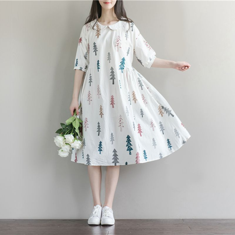 Maternity Clothes New Arrival Dresses for Pregnant Women Fashion Doll Collar Print Cotton Linen Losse Casual Pregnancy Dress цена