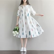 Maternity Clothes New Arrival Dresses for Pregnant Women Fashion Doll Collar Print Cotton Linen Losse Casual Pregnancy Dress