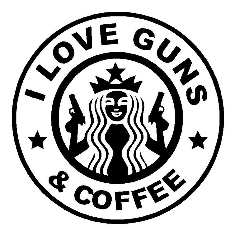 14.6CM*14.4CM I Love Guns And Coffee Funny Vinyl Decal Car Truck Window Sticker Car Styling Car Stickers Black/Sliver C8-0220 wars guns and votes