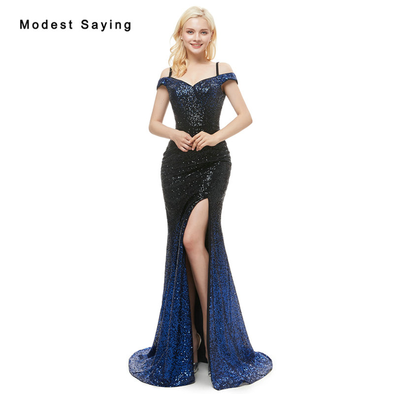 Sexy Split Blue and Black Mermaid Boat Neck Sequined   Evening     Dresses   2019 with Straps Backless Long Engagement Party Prom Gowns