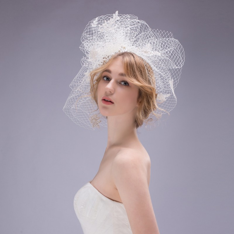 2016-New-Bridal-Hats-Wedding-Headdress-Jewelry-Vintage-Handmade-Linen-Gauze-Beaded-Birdcage-Veil-Elegant-Tulle (3)