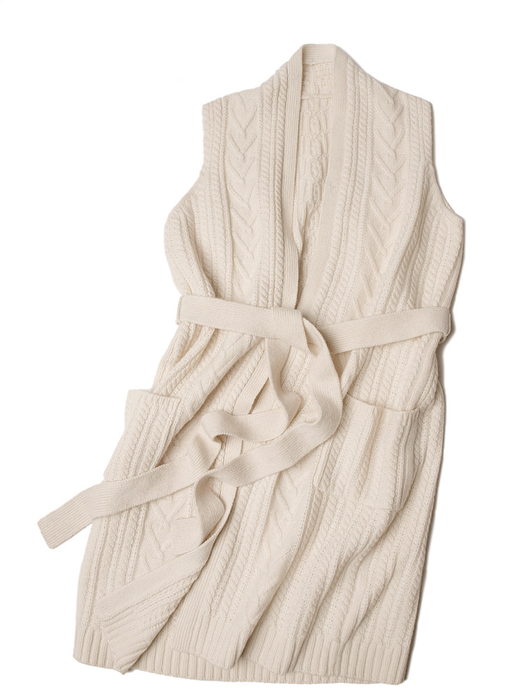 Высокого качества 100% козья кашемир Женская мода пояса длинные свитер; кардиган; пальто без рукавов Один размер молочно белый