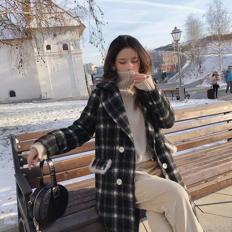 Mishow 2018 Vrouwen Nieuwe winter kleding dikker wollen jas vrouwelijke Koreaanse versie van de lange losse Plaid wollen jas MX18D9682-in Wol en mengsels van Dames Kleding op  Groep 1