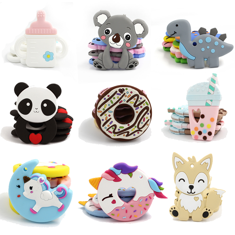 5pc Cartoon Silicone Teether Donut Panda BPA Free Food Grade Teether Toys Pendant 0-12 Months Kids Teething Baby Teether T0357