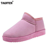 TAOFFEN 5 Colors Women A Flats Boots Thick Fur Warm Shoes For Cold Winter Shoes Snow