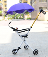2017 New Children Folding Car Baby Tricycle Kids Trolley Strolling With Fence And Sun Umbrella