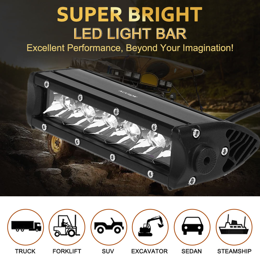 KKmoon 30W Diecast Bar Shape Spot Beam LED Car Work Light 2550LM Long Life Span for Jeep 4x4 Offroad ATV Truck Boat SUV 12V 24V atreus 50w 7 led spot light with remote control searching lights for jeep suv truck hunting boat camp lamp bulb car accessories