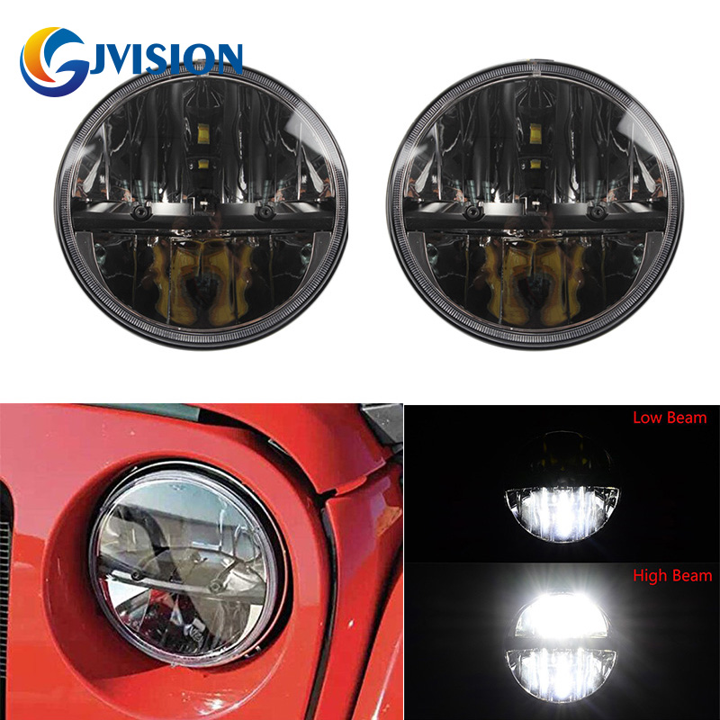 7 Inch Round LED Headlights for Jeep Wrangler CJ JK TJ 97-2016 Motorcycle Offroad Hummer Land Rover Defender 90 & 110 high power 7inch round led headlight for jeep wrangler jk tj lj cj willys wheeler unlimited rubicon hummer land rover defender