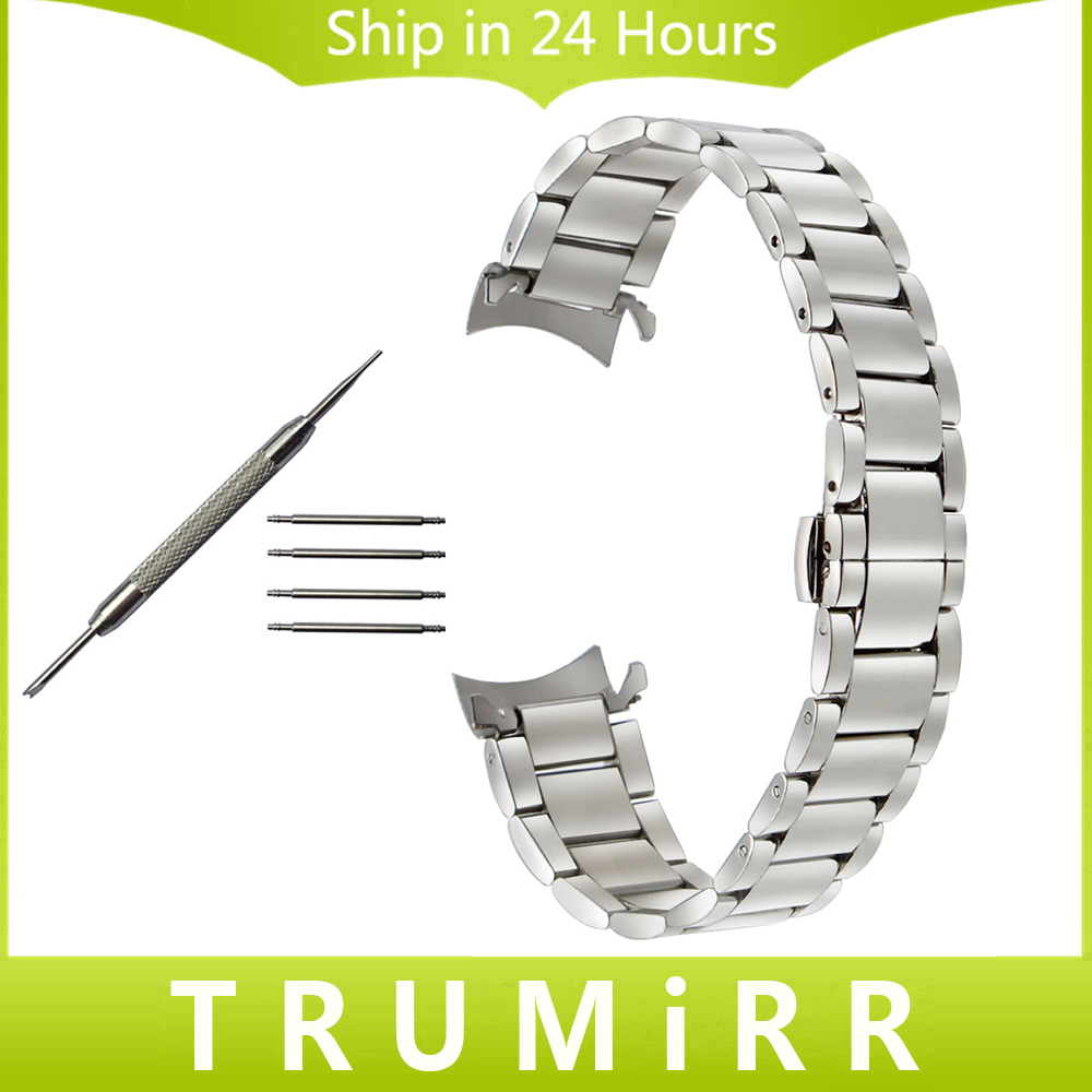 Curved End Stainless Steel Watchband 20mm 22mm for Bell & Ross Vintage Watch Band Butterfly Buckle Strap Wrist Belt Bracelet grid pattern leather watchband 20mm 22mm tool for garmin fenix 5s 5 forerunner 935 epix watch band steel buckle wrist strap